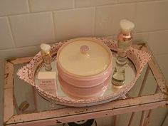 Vanity tray painted pale pink~remember the gold vanity trays from the 70's?  I have a few of those...