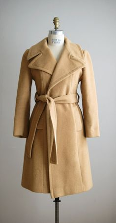 1960s CHAMEAU camel hair belted wrap coat