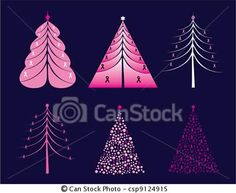 Christmas Pink Ribbon Theme - curves, EPS format