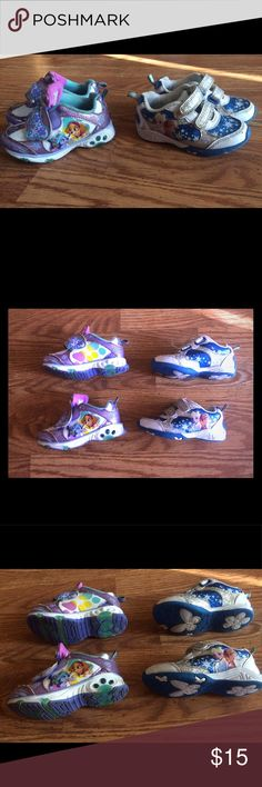 Bundle PAW Patrol Light-Up Shoes & Frozen shoes Nickelodeon Toddler Girl's PAW Patrol Purple Light-Up Athletic Shoes. Cute Disney Frozen sneakers with sparkles ✨ and Velcro on both sneakers. 7 Toddlers size!! My daughter wore both pairs and they show a little wear on the tongue of the PAW Patrol and the frozen sneakers show wear on the front but all together they are in great condition and have been cleaned. This is a bundle deal if you would like just one pair I'll be charging $5 for each…