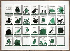 "Love this ""Noisy Alphabet"" print with all the letters standing for funny sounds."