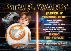 Personalize Star Wars Invitation, Funny BB8 Birthday Party Invite