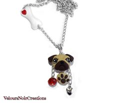 pug dog necklace and bone with little heart made by hand with polymer clay