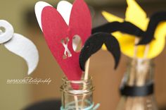 Hearts and mustaches on sticks!