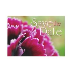 Pretty save the date announcement in magenta pink and green