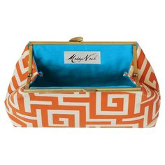 I pinned this Maddy Nash Orange Oskar Clutch with Turquoise Interior from the Bright & Bold Accessories event at Joss and Main!