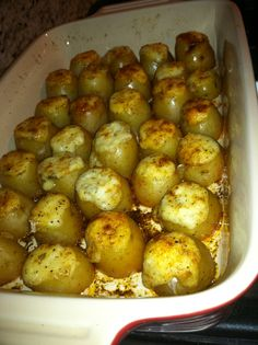I was inspired to make these after eating something similar at a bakery in the Virginia Highlands in Atlanta, GA.  These tender little potatoes are stuffed to the brim with a garlicky, cheesy filling, are an easy alternative to mashed or baked potatoes.  Recipe can be found at http://www.epicurious.com/recipes/food/views/Asiago-Potatoes-242346
