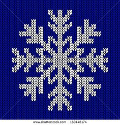 Snowflake Christmas knitted ornament on blue knitted background. Knitted seamless pattern - stock photo