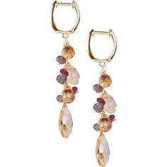 Citrine, Smokey Quartz and Garnet Earrings