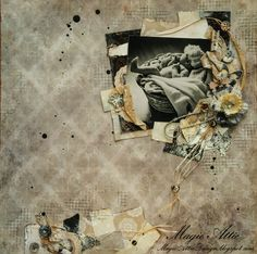 Magic Attic Design newborn baby mixed media layout