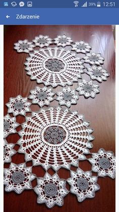 Lovely assorted hand crochet white floral doilies, handmade round coasters, round table doily set for doily runner DIY ~ Nice gift for Mom Crochet Table Runner Pattern, Crochet Doily Patterns, Crochet Tablecloth, Crochet Motif, Crochet Designs, Crochet Doilies, Crochet Flowers, Hand Crochet, Diy Crafts Crochet