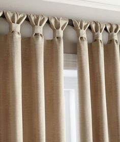 Tab curtains - a little different - Diy Crafts for The HomeEasy stylish update to tab top curtains, classy finishLots of people know just how crucial it is to have lovely kitchen curtains as decor in your home. Possibly if you spend sufficient time i Tab Curtains, Home Curtains, Curtains With Blinds, Kitchen Curtains, Sewing Curtains, Burlap Curtains, 3 Curtains On One Window, How To Make Curtains, Window Shutters