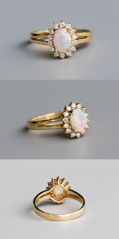 Oval Morganite engagement ring rose gold engagement ring vintage Flower Unique diamond wedding Bridal Jewelry Valentine's day gift for women - Fine Jewelry Ideas Pretty Engagement Rings, Vintage Gold Engagement Rings, Shop Engagement Rings, Rose Gold Engagement Ring, Diamond Wedding Bands, Halo Engagement, Opal Wedding Rings, Opal Rings, Bridal Rings