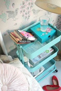 Small space saver - grab a caddy on wheels to use as a makeshift nightstand, side table or desk buddy.