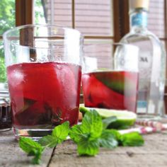 Rhubarb-Hibiscus Mojito (made with tequila)