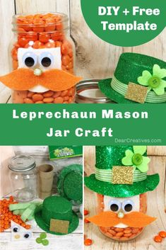 Leprechaun Mason Jar Craft - Make this decoration for St. Fun DIY craft that anyone can do, even kids with a few craft supplies. Grab the template, instructions, and get started! Fun Diy Crafts, Adult Crafts, Craft Stick Crafts, Crafts For Teens, Mason Jar Crafts, Mason Jar Diy, St Patrick's Day Decorations, Glitter Crafts, Pinterest Crafts