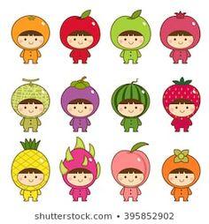 Illustration about Vector illustration set of kids in cute fruits costumes. Illustration of kids, childhood, dragonfruit - 69246381 Funny Drawings, Kawaii Drawings, Griffonnages Kawaii, Fruit Costumes, Kawaii Illustration, Kawaii Doodles, Cute Fruit, Banner Printing, Matilda