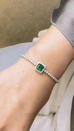 Princess Cut Halo Green Emerald White Gold Over Women's Tennis Bracelet - Hiper Diamond Emerald Bracelet, Emerald Jewelry, Diamond Bracelets, Silver Bracelets, Bangle Bracelets, Silver Jewelry, Silver Ring, Silver Earrings, Tiffany Bracelets