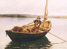 Man in a Boat Painting by William Lamb Picknell Reproduction William Lamb, Sleeping Man, Utility Boat, Art Through The Ages, Most Famous Paintings, Winslow Homer, Boat Painting, Oil Painting Reproductions, Small Boats