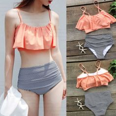Fashion Women Swimwear High Waist Bikini Set Bandage Push-Up Swimsuit Bathing