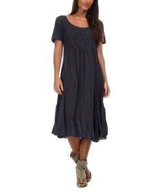 Look what I found on #zulily! Navy Blue Cristina Linen Shift Dress - Women #zulilyfinds