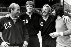 The Manchester United Kingdom: Bobby Charlton of England, Wyn Davies of Wales, Denis Law of Scotland, and George Best of Northern Ireland,  at a training session, Old Trafford, 1972