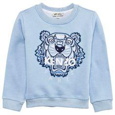 a45efa02c95d Kenzo Kids Pale Blue Embroidered Tiger Sweatshirt Blue Tigers, Kenzo Kids,  Kids Lighting,