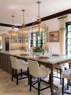Long Kitchen Island Extends Past Patio Door