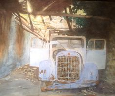 Abandoned legacy, in watercolour by Gayner Vlastou. The former Green Royal Family's car...
