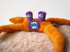 Orange Monster Toy yellow purple spider by AlyshellsCraftShack, $52.00