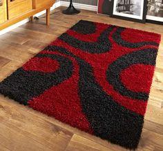 Construction: Machine made Material: Polypropylene Origin: Turkey Highly durable Red /Black Shaggy pile Carpet Decor, Diy Carpet, Rugs On Carpet, Carpet Smell, Braided Rag Rugs, Fru Fru, Carpet Trends, Modern Rugs, Handmade Rugs