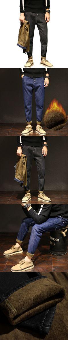 Men Winter Plus Velvet Harem Jeans Black Blue  Slim Fit Blue Jeans Stretch Denim Pants Trousers Classic Cowboys Young Man