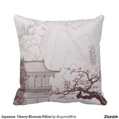 Japanese Cherry Blossoms Pillows by Wagaraya Featured here is a range of traditional and modern Japanese art printed Pillows for the home. These offer stylish and unique home comfort and make great gifts. Cherry Blossom Bedroom, Cherry Blossom Theme, Cherry Blossoms, Living Room Japanese Style, Japanese Style House, Japanese Inspired Bedroom, Japanese Bedroom Decor, Asian Bedroom, Sick