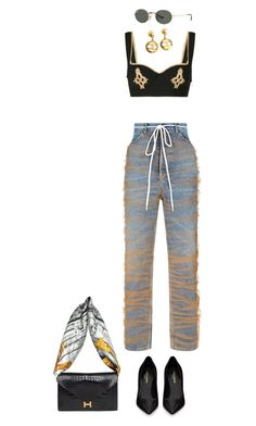 """"" by maelohan ❤ liked on Polyvore featuring La Perla, Ray-Ban, Off-White, Chanel, Yves Saint Laurent and Hermès"