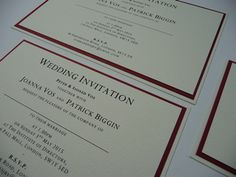 Classic Ivory and Red Wedding invitations