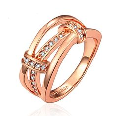 ON SALE AT http://jewelrydealsnow.com/?a=B014V4747M - SunIfSnow High-end Jewelry 18K Rose Gold Inlaid Zircon Rings""