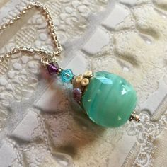 Teardrop Ocean SRA Lampwork Pendant/Necklace, SRA Lampwork Jewelry, Mothers Day, Gift For Her, Beach Pendant/Necklace, Ocean Jewelry