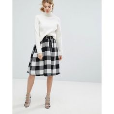 Lost Ink Check Midi Skirt With Tassel Belt (3.115 RUB) ❤ liked on Polyvore featuring skirts, black, textured skirt, print skirt, checkered skirt, patterned skirts and midi skirt