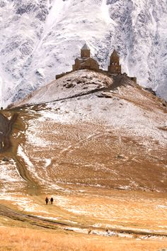 Gergeti Trinity Church, Georgia Near the 16,512ft (5,033m) Mount Kazbegi in the Caucasus, this 14th-century church occupies the top of a hill and is accessible by trail as well as a rough jeep track. Photo:uzi yachin