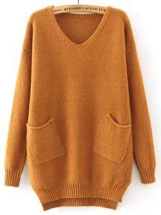 Khaki V Neck Pockets Loose Sweater | victoriaswing