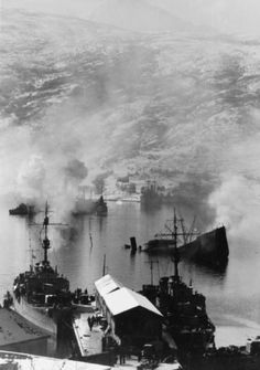 Wrecked shipping in Narvik Bay after the first battle of Narvik, April 1940