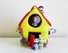 Felt Family House Play Set. Waldorf Inspired Plush Felt Dollhouse. Includes 6 Family Dolls. Felt Toy for Toddlers. on Etsy, $75.72
