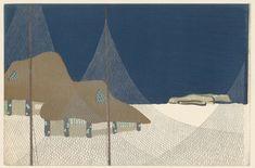 Kamisaka Sekka | Vissersdorpje, Kamisaka Sekka, Yamada Naosaburo, 1909 | Twee huisjes met bruine, laag overhangende daken, gezien door zilverkleurige visnetten. In de achtergrond gestileerde bootjes tegen een witte en donkerblauwe achtergrond.