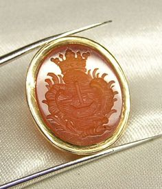 Antique Intaglio 14K Gold  Wax Seal for Pendant or Ring, Heraldry, Coat of Arms