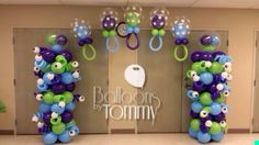 Monster's Inc themed baby shower with matching balloon arch! | Balloons by Tommy | #balloonsbytommy