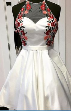A-Line Round Neck Backless Short White Satin Homecoming Dress with Appliques, Shop plus-sized prom dresses for curvy figures and plus-size party dresses. Ball gowns for prom in plus sizes and short plus-sized prom dresses for Homecoming Dresses 2017, Hoco Dresses, Dresses For Teens, Trendy Dresses, Sexy Dresses, Cute Dresses, Evening Dresses, Casual Dresses, Dresses For Work
