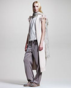 Chunky-Knit Long Vest, Floral-Print Cashmere Scarf, Tulle Top & Wide-Leg Drawstring Pants by Brunello Cucinelli at Neiman Marcus.
