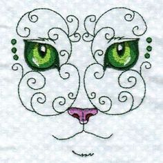 Free Embroidery Design: Swirly Cat Face