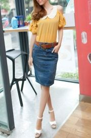 Back Vent Zipped Denim Skirt - Skirts