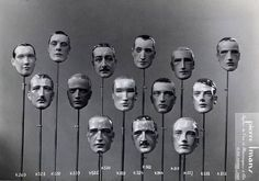 A selection of male mannequin heads by Pierre Imans, ca. 1930